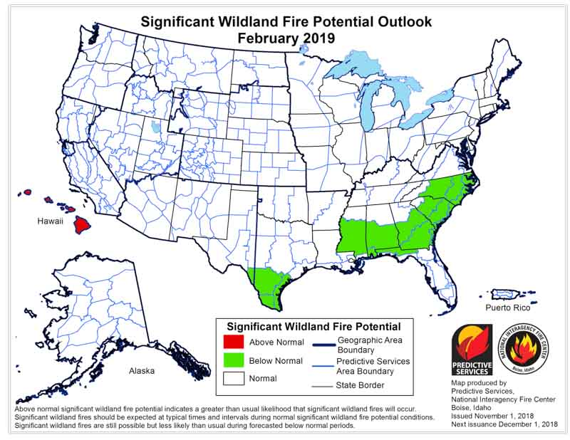 February wildfire outlook weather