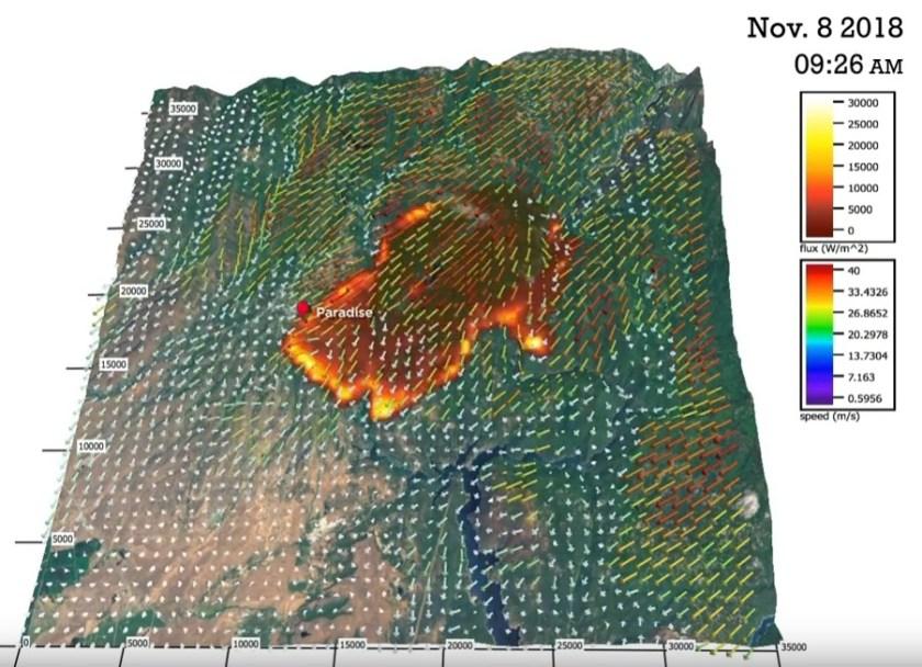model simulation spread Camp Fire