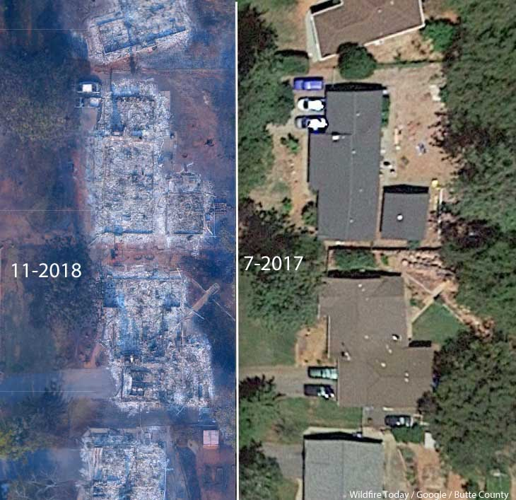 before after camp fire paradise california homes burned