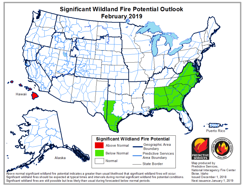 February wildfire outlook potential