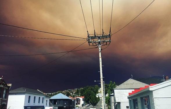 smoke Hobart Tasmania Fire Gell River