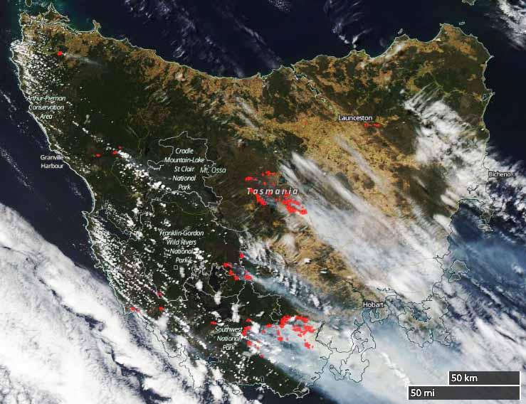 satellite photo tasmania wildfires
