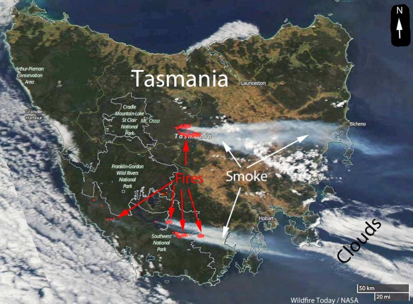 wildfires in Tasmania satellite photo