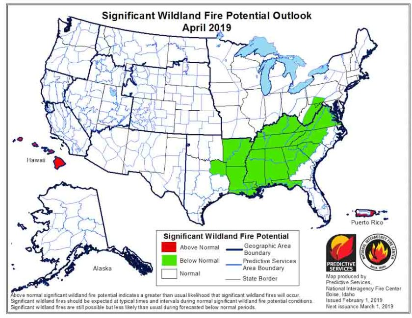 April wildfire potential outlook