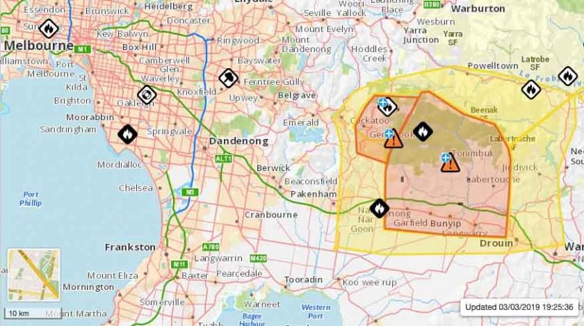 map bushfire east of Melbourne, Victoria