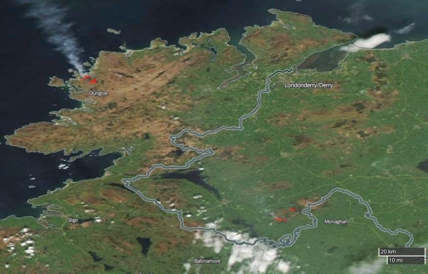 wildfire in northwest Ireland map