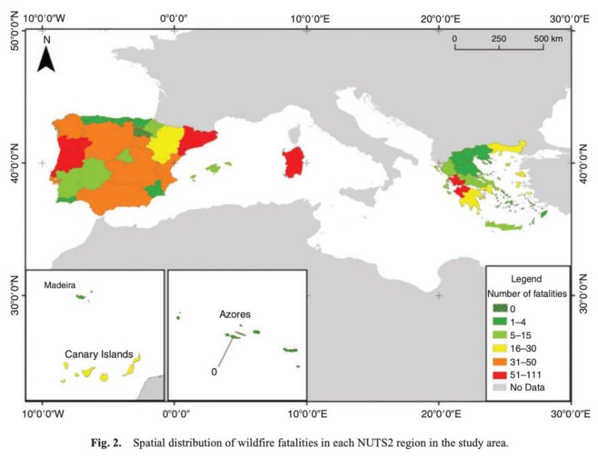 fatalities wildfires southern Europe