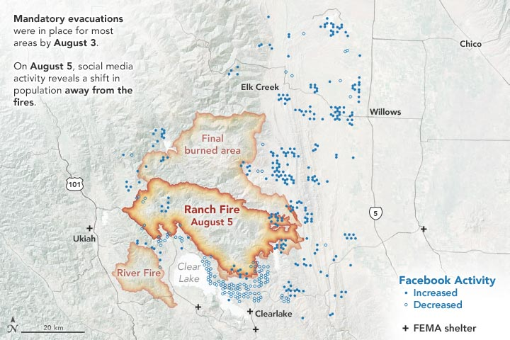 social media evacuation pattern Ranch Fire wildfire