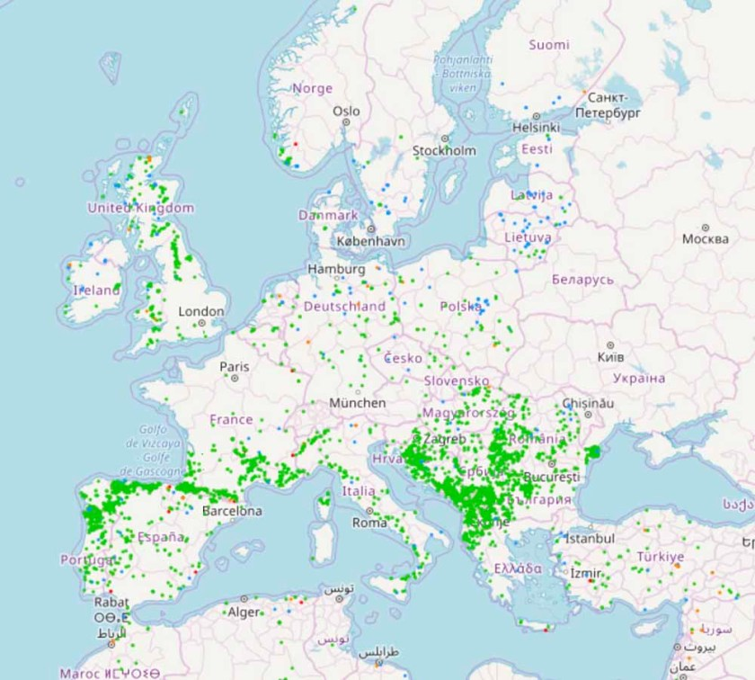 Wildfires to date in Europe map
