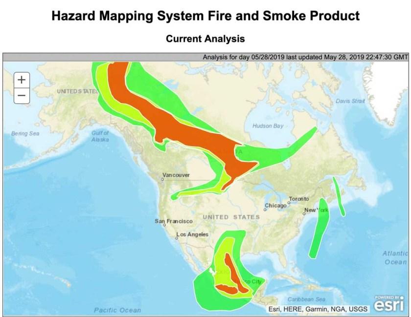 wildfire smoke map North America may 28 2019