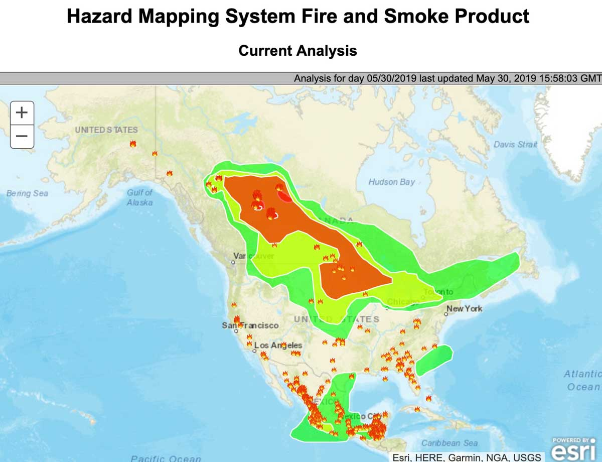 Maps Wildfire Smoke Conditions And Forecast Wildfire Today - Map-of-east-coast-of-us-and-canada