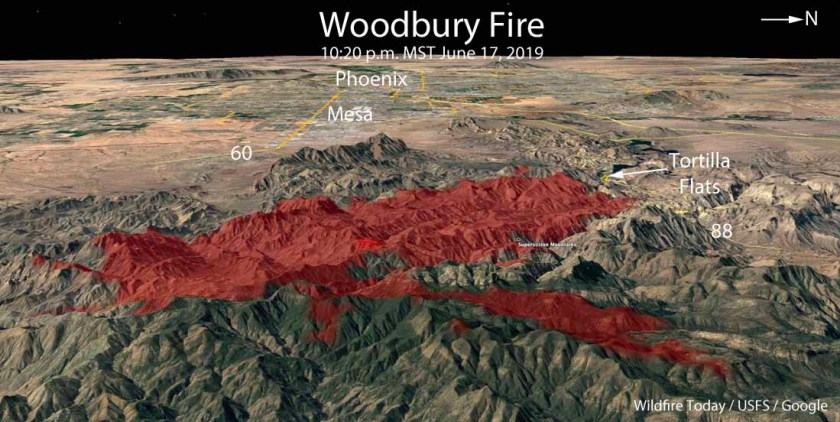 3-D map of the Woodbury Fire