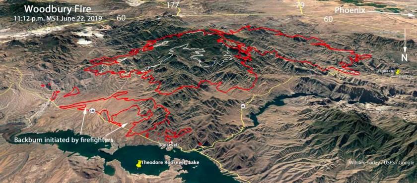 3-D map Woodbury Fire Phoenix Arizona Lake Roosevelt