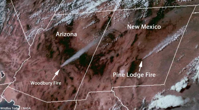 Satellite photo smoke Woodbury and Pine Lodge Fires