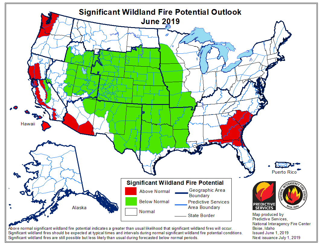 Forecasters predict the potential for large wildfires will