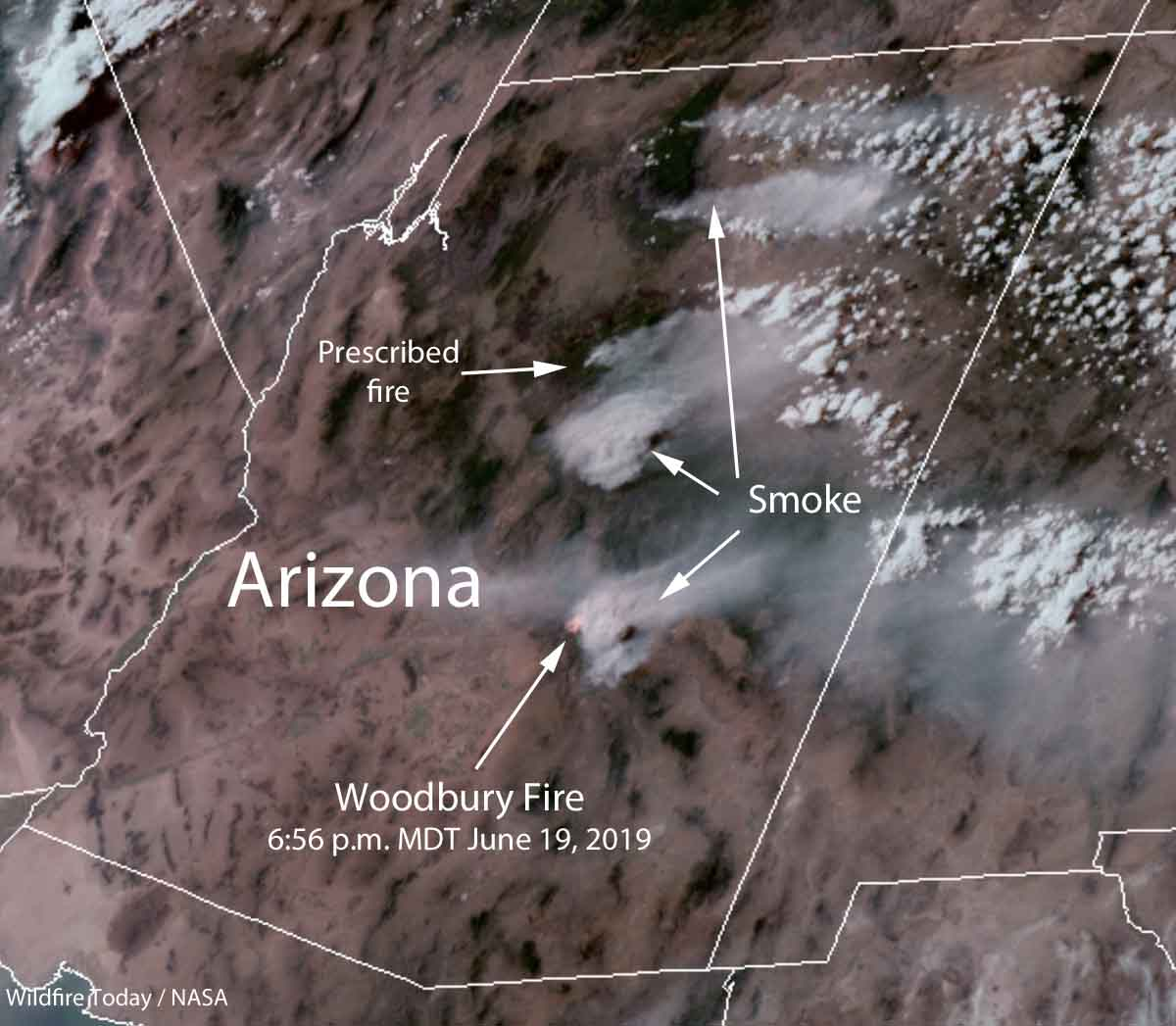 Satellite Map Of Arizona.Smoke From Fires In Arizona Affects New Mexico And Texas Wildfire