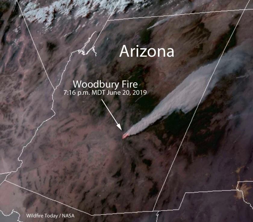 satellite photo smoke Woodbury Fire map wildfire