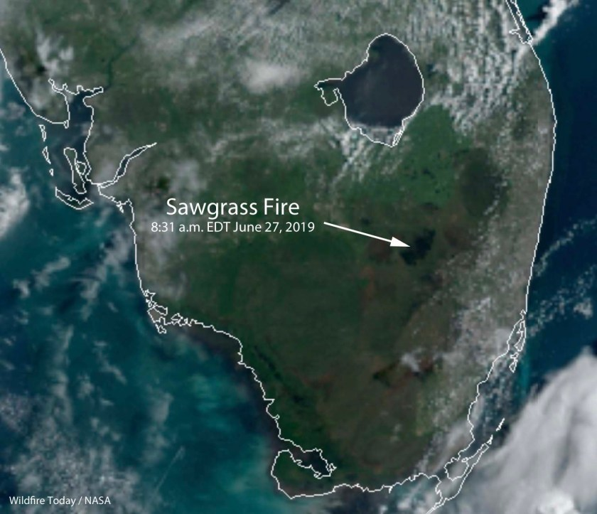 Satellite photo Sawgrass Fire
