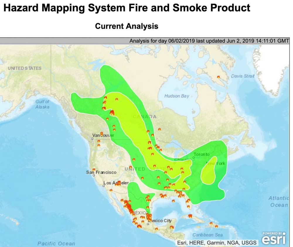 Canada Map Of States.Canadian Wildfire Smoke Decreasing In United States Wildfire Today