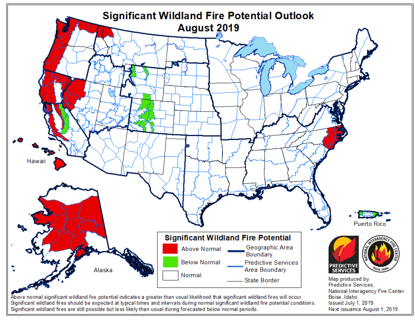 wildfire outlook 2019 August