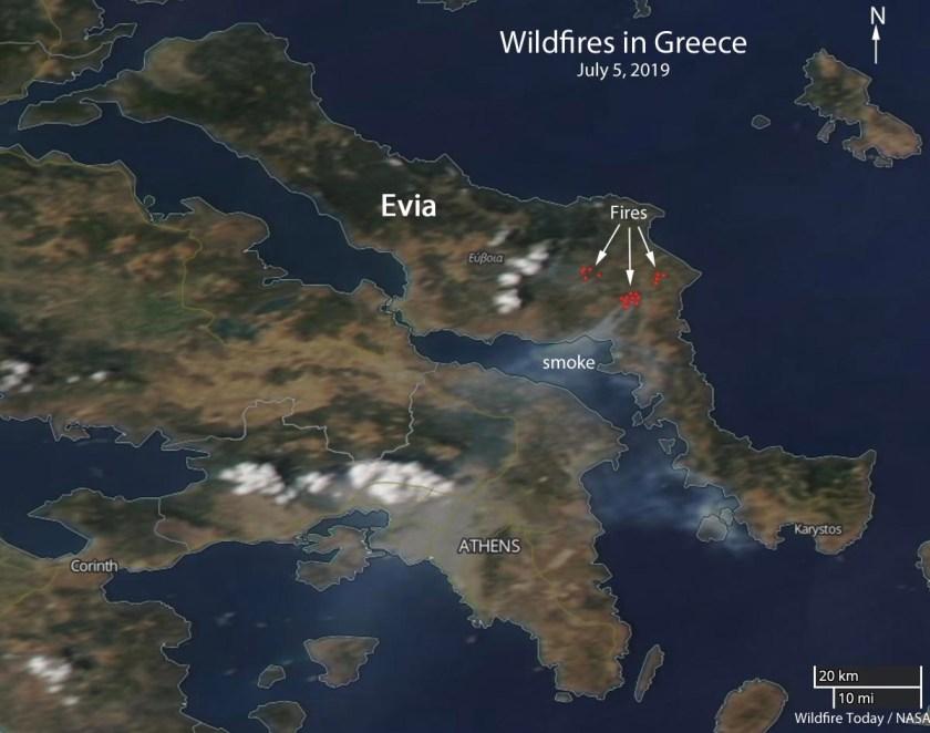Greece Fires Map