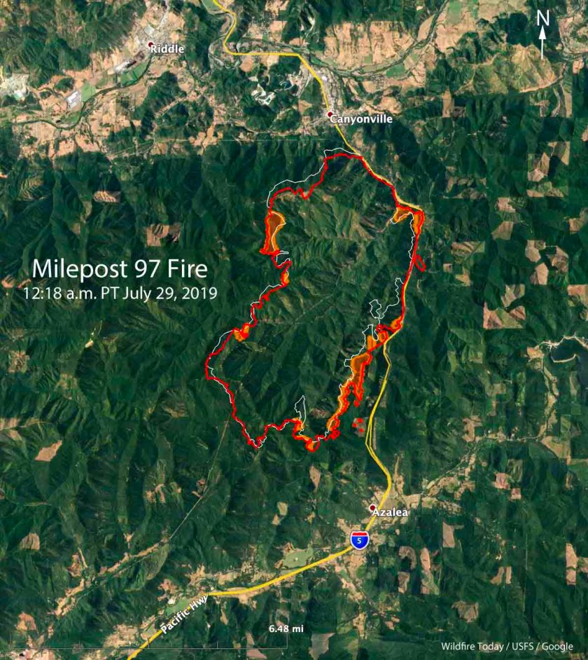 map Milepost 97 Fire Oregon wildfire
