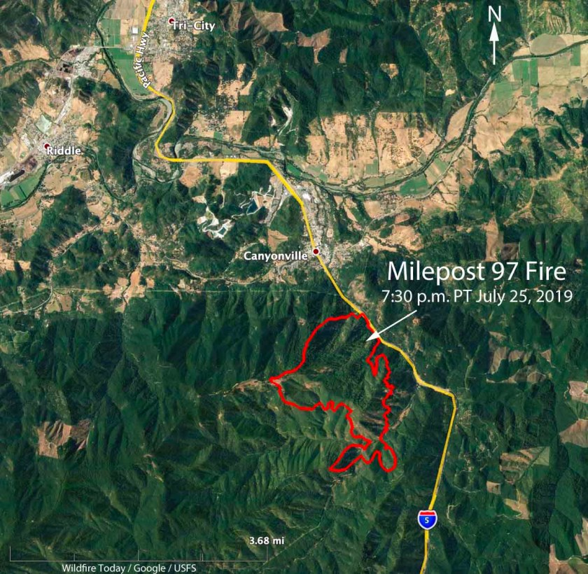 map Milepost 97 Fire Canyonville, Oregon