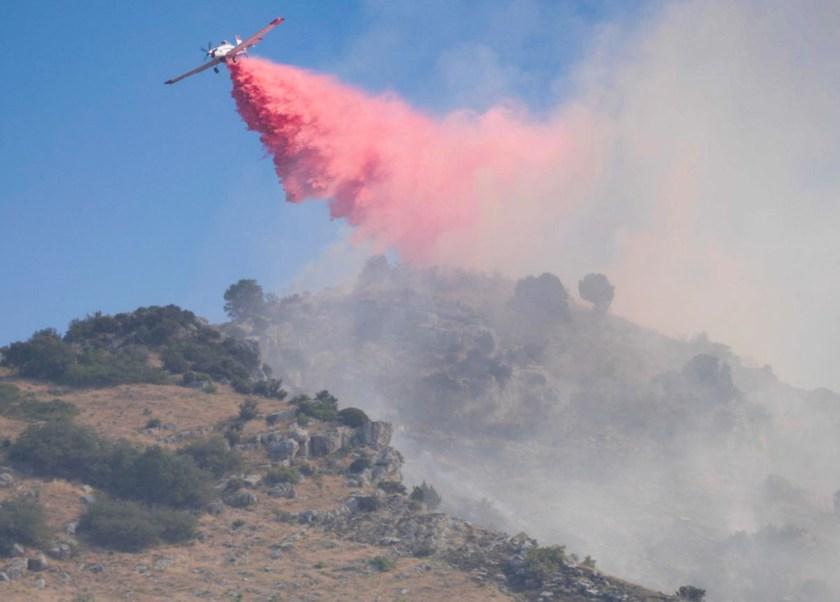 Round Fire air tanker drop Utah