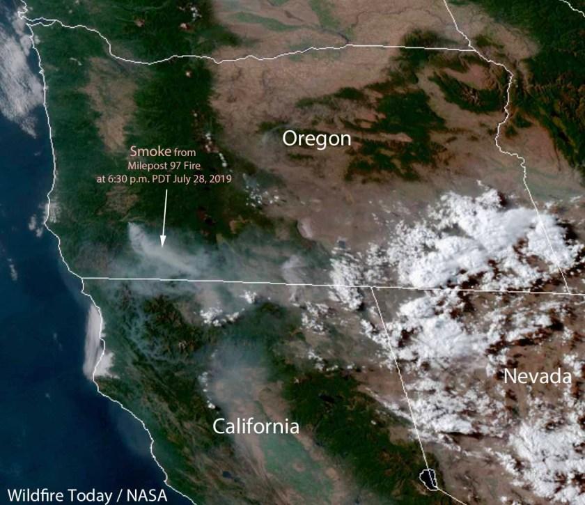 satellite photo Milepost 97 Fire in Southwest Oregon