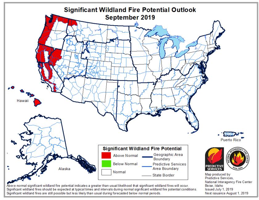 wildfire outlook 2019 September