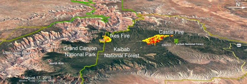 map Castle and Ikes Fires Arizona