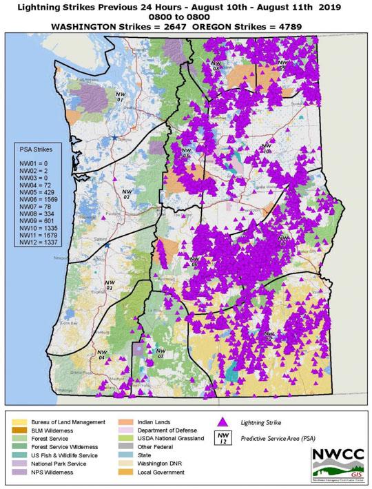 lightning strikes recorded Washington Oregon