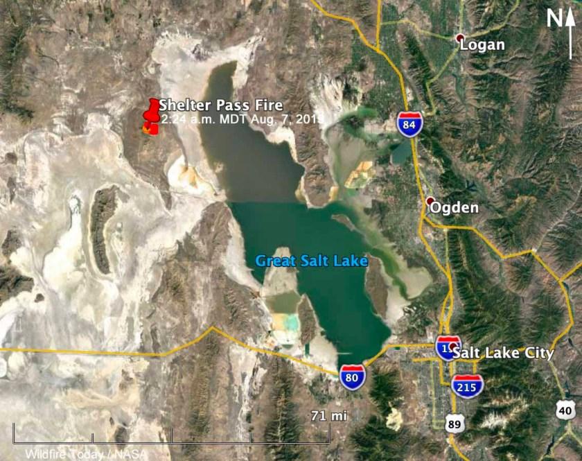 map Shelter Pass Fire Great Salt Lake