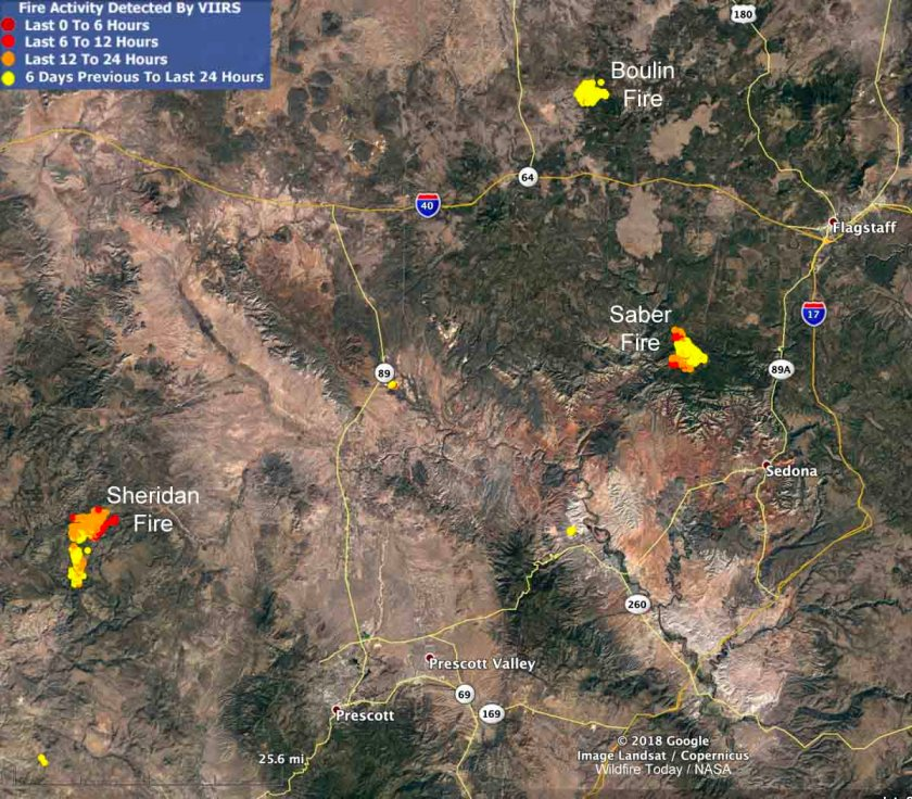 Map location of wildfires in Arizona Sheridan Saber wildfires