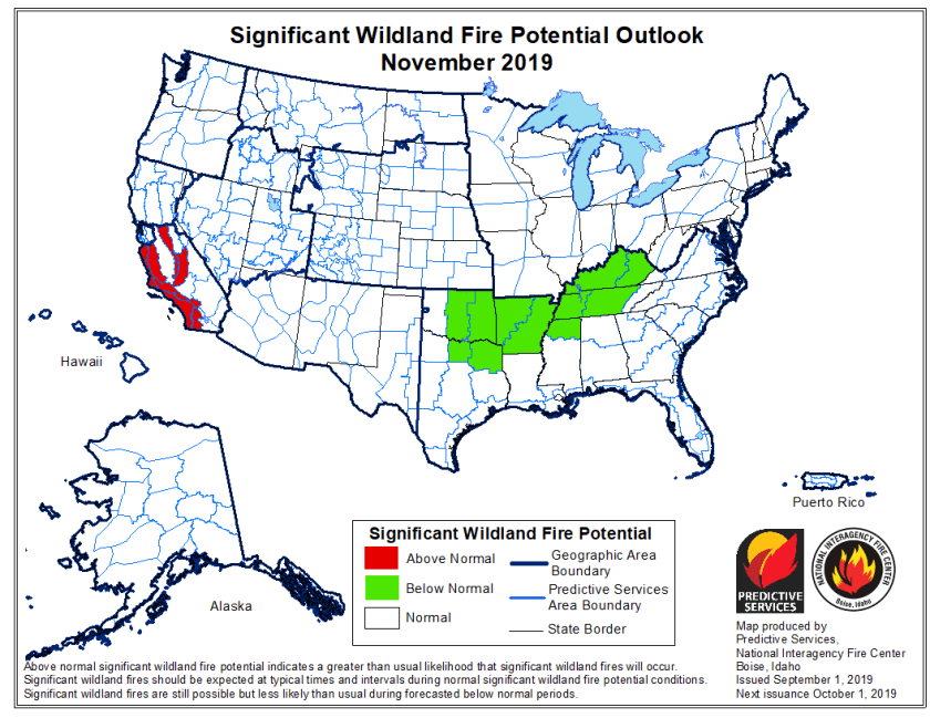 November 2019 wildfire outlook
