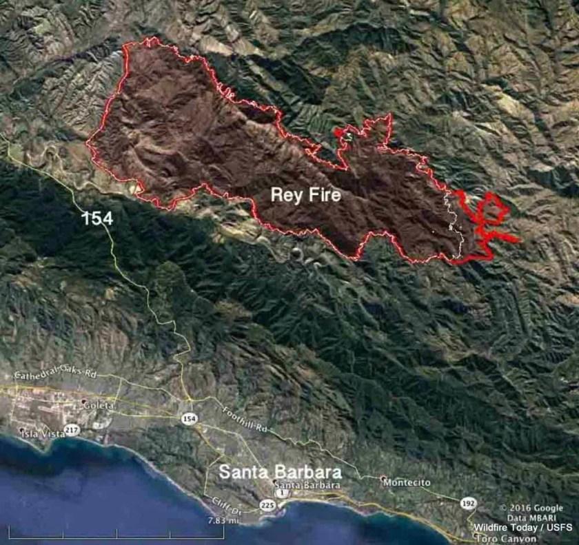 Map Rey Fire August 25 2016
