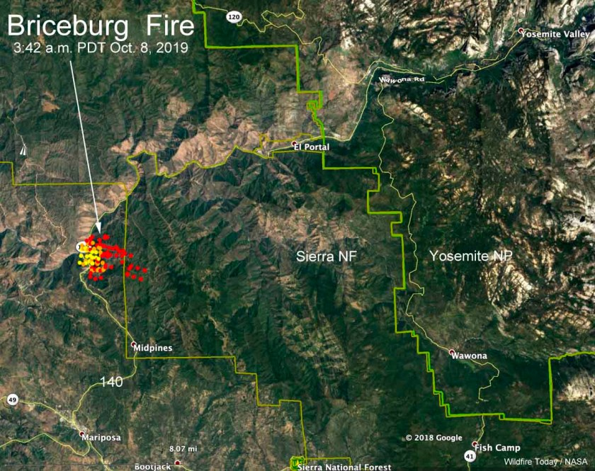 map Briceburg Fire Yosemite highway