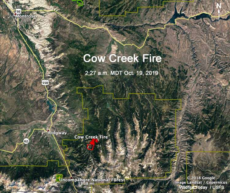 Cow Creek Fire map