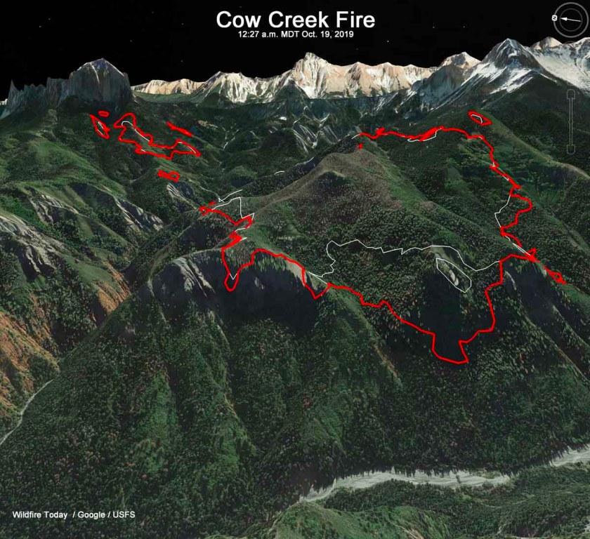 Cow Creek Fire map 3-D