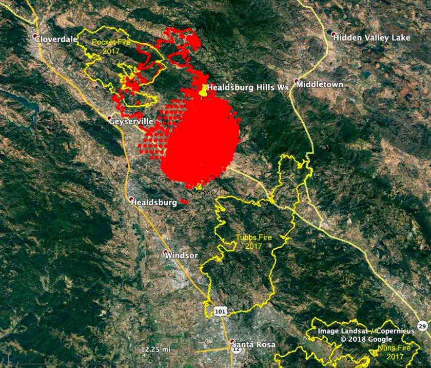 map perimeter of the Kincade Fire