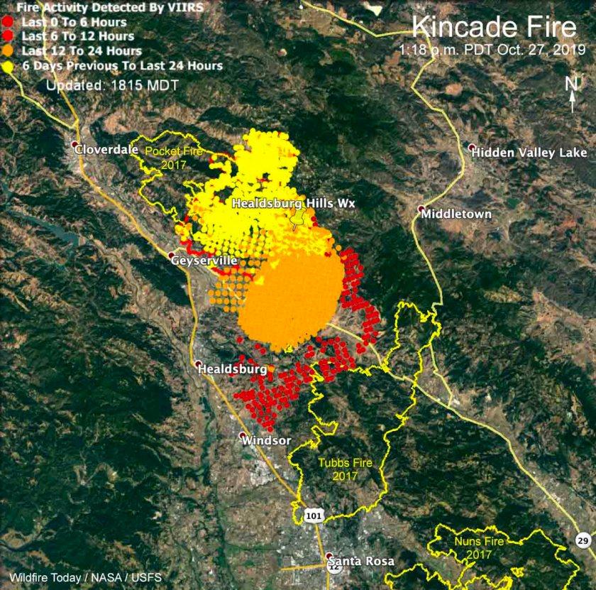 Map Kincade Fire 1:18 p.m. PDT October 27, 2019