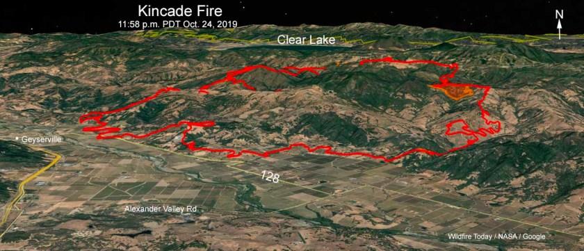 3-D map Kincade Fire 11:58 p.m. October 24, 2019