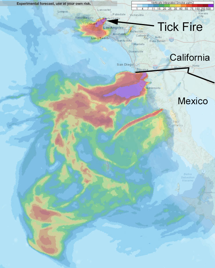 smoke wildfire southern California and northwest Mexico.