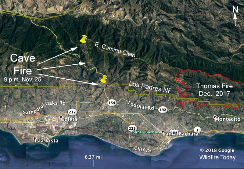 map Cave Fire Santa Barbara