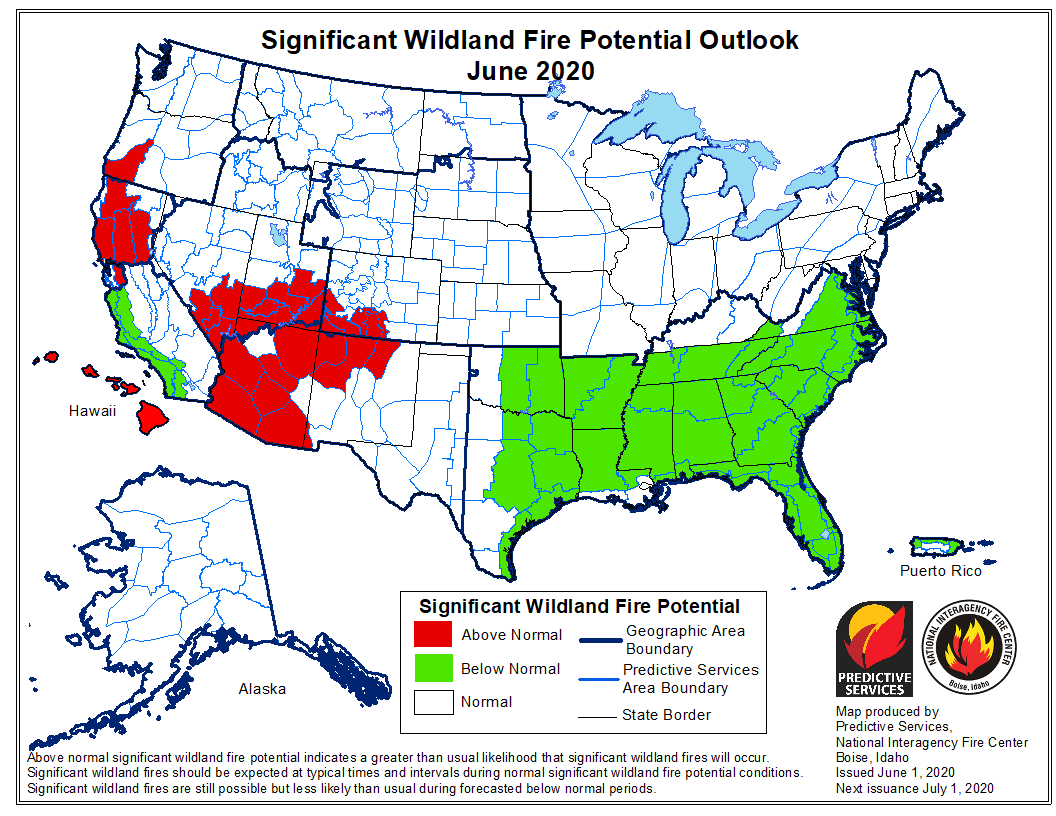 Fire danger map and data products. Wildfire Potential Expected To Be Above Normal In Many Western Locations This Summer Wildfire Today