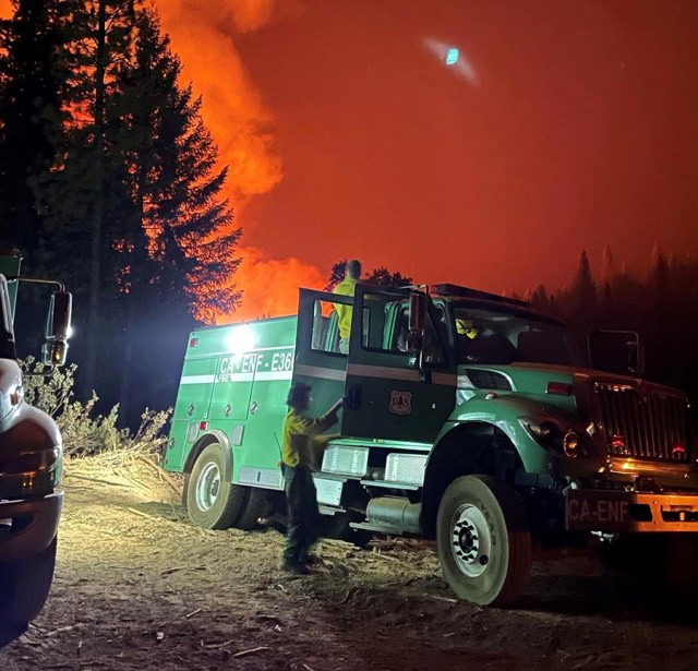 USFS engine crews on the initial attack of the Caldor Fire
