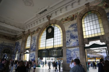 "Train station in Porto, Portugal. Portugal is known for its ""azulejos,"" painted ceramic tiles."