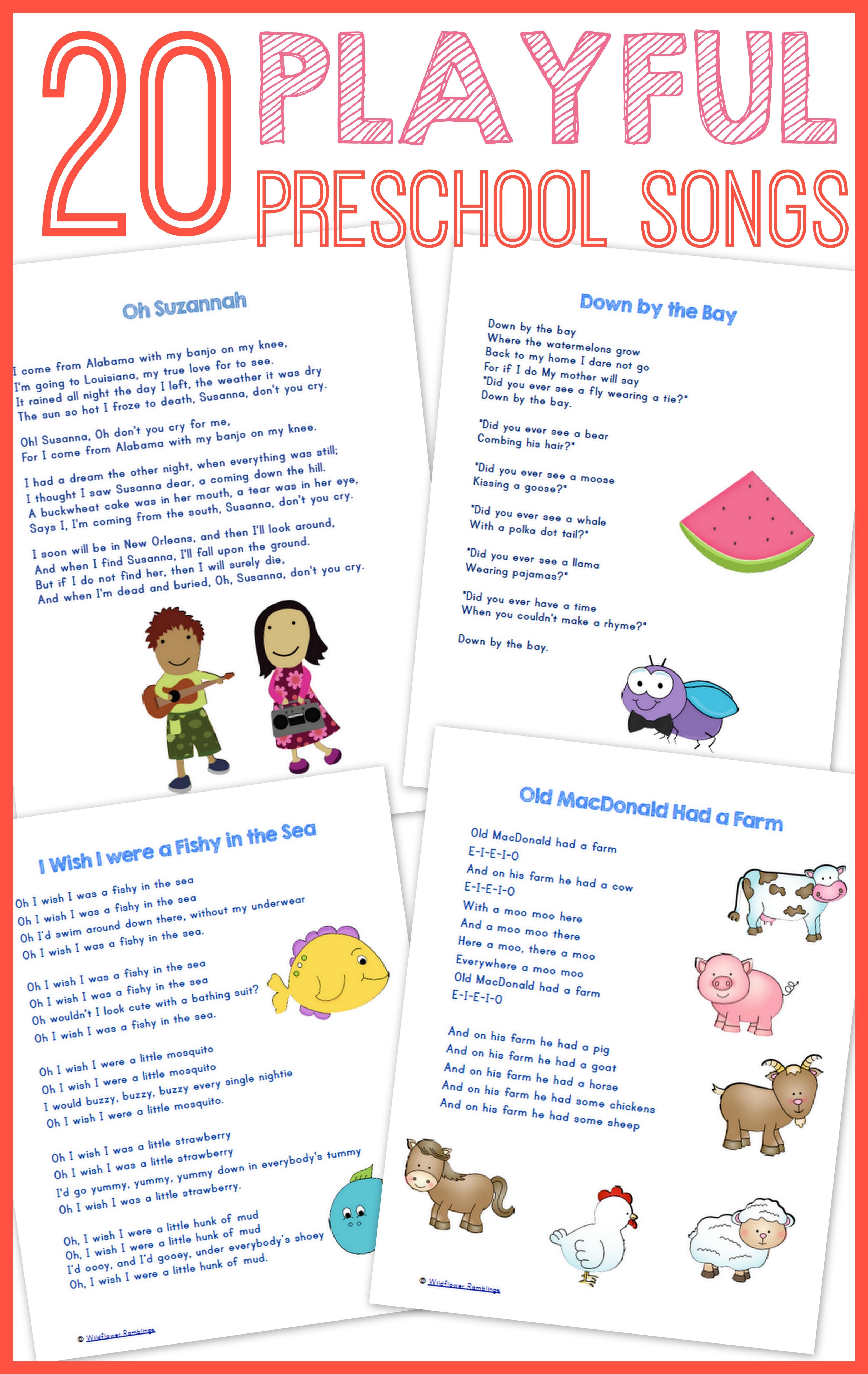 20 Best Preschool Songs {free Printable!}  Wildflower Ramblings