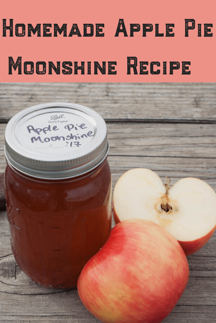 Have you ever wondered how to make homemade apple pie moonshine? We've got a simple and easy recipe using Everclear, apples, cinnamon and a few other ingredients found around your homestead! Give jars away as the perfect, homemade DIY Christmas gift your friends will request each year! Check it out! #homemade #moonshine #applepie #simple #easy #apples #everclear #homestead #christmas