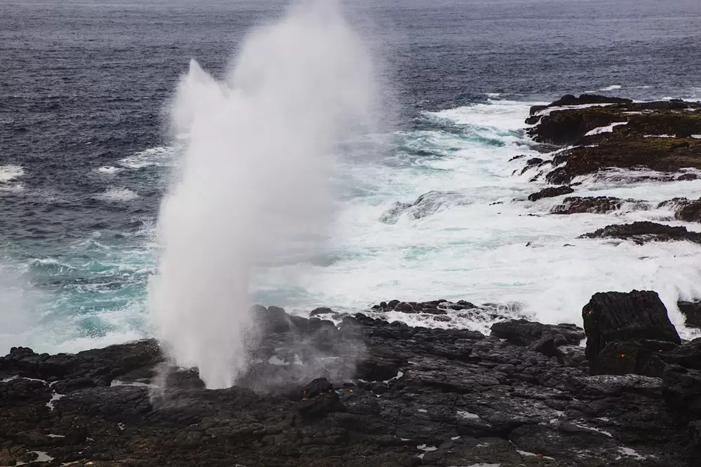Blowhole or sea spout in volanic rocks along shore of Espanola Island, Galapagos